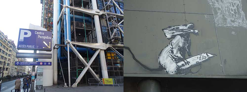 Banksy Streetart bij Centre Pompidou